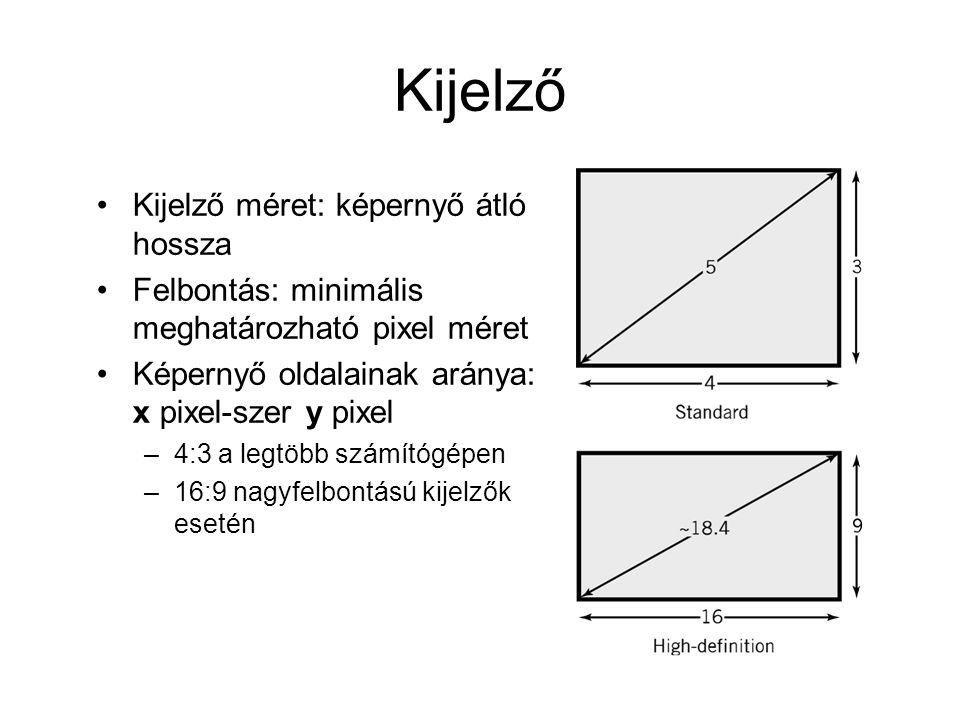 Kijelző Kijelző méret: képernyő átló hossza
