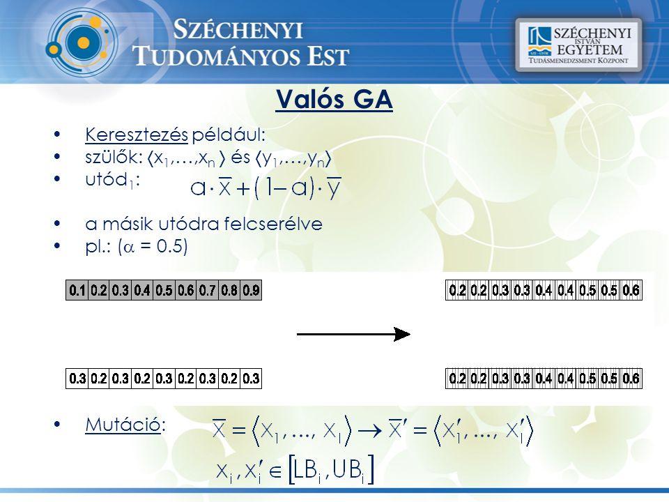 Valós GA Keresztezés például: szülők: x1,…,xn  és y1,…,yn utód1: