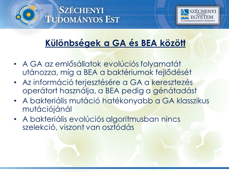 Különbségek a GA és BEA között