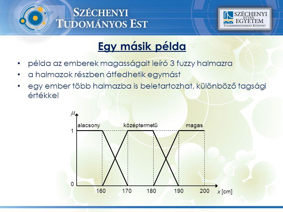 Egy másik példa példa az emberek magasságait leíró 3 fuzzy halmazra