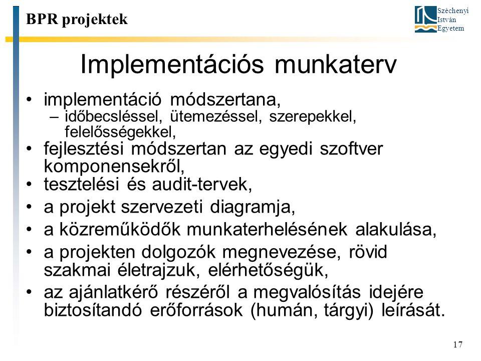 Implementációs munkaterv