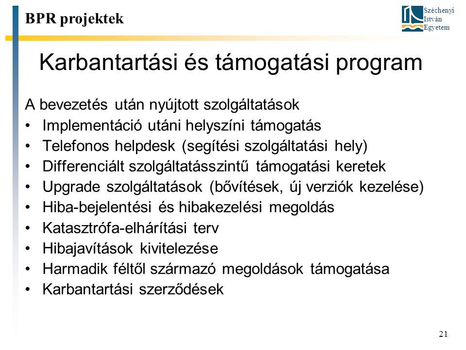 Karbantartási és támogatási program