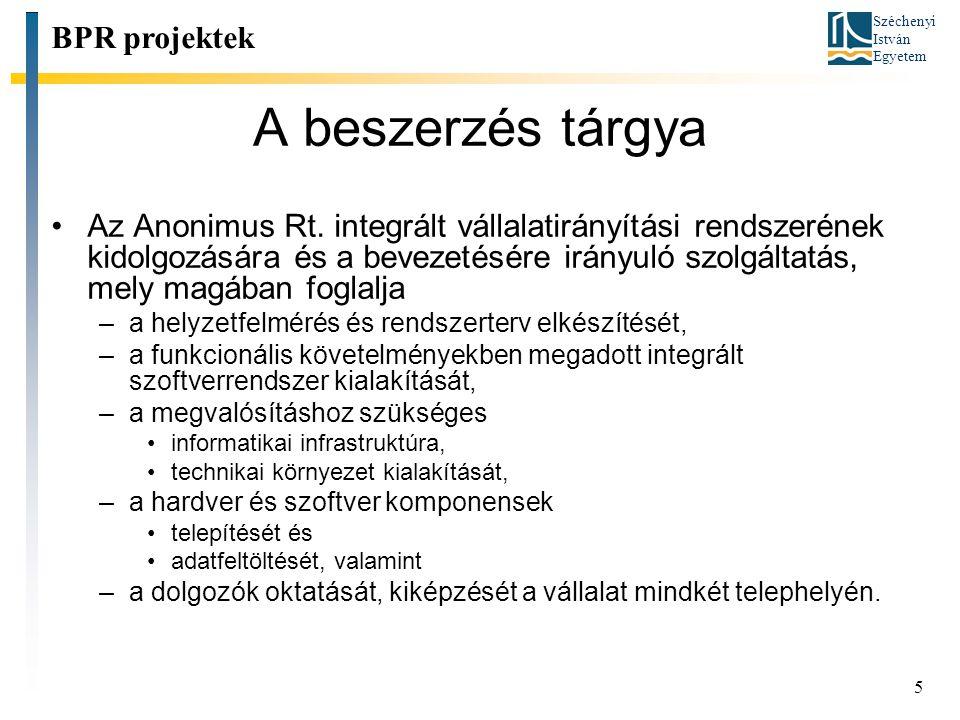 A beszerzés tárgya BPR projektek