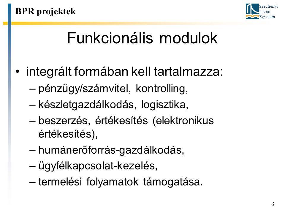Funkcionális modulok integrált formában kell tartalmazza: