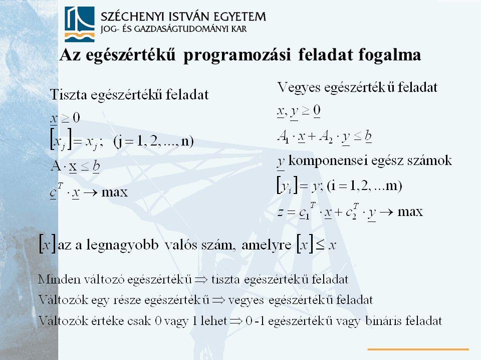 Az egészértékű programozási feladat fogalma