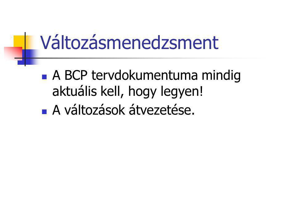 Változásmenedzsment A BCP tervdokumentuma mindig aktuális kell, hogy legyen.