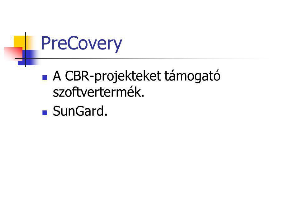 PreCovery A CBR-projekteket támogató szoftvertermék. SunGard.