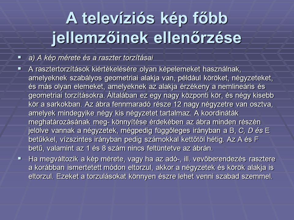A televíziós kép főbb jellemzőinek ellenőrzése