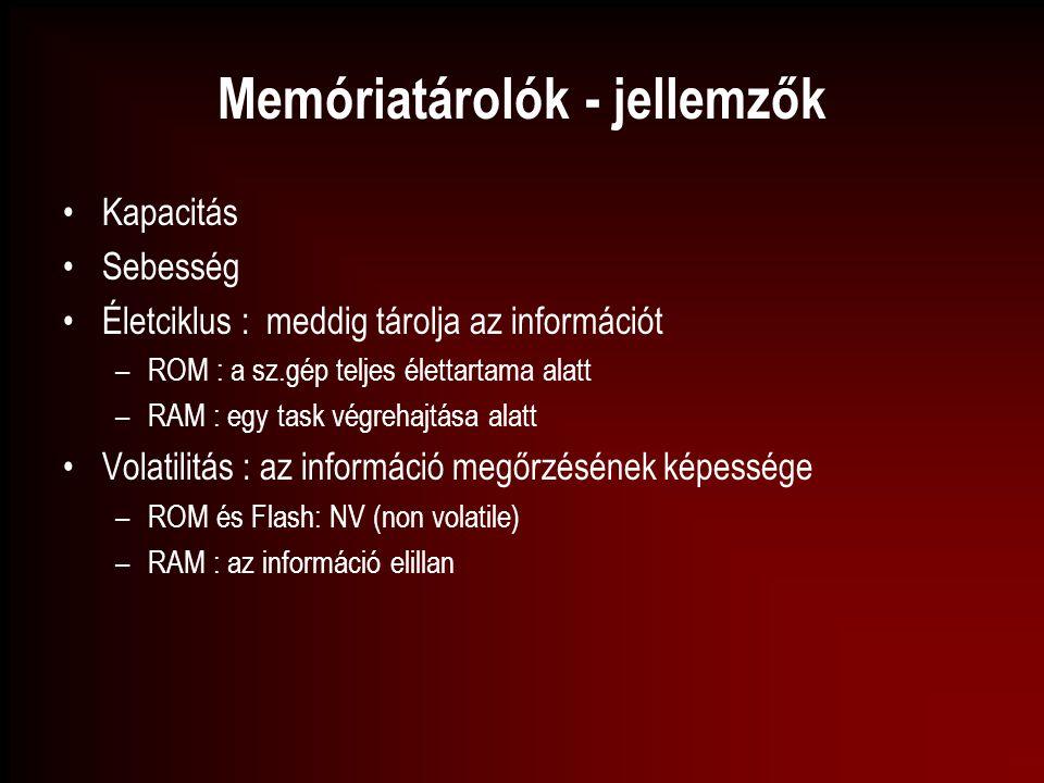 Memóriatárolók - jellemzők