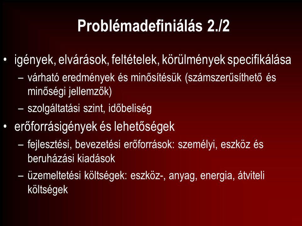 Problémadefiniálás 2./2 igények, elvárások, feltételek, körülmények specifikálása.