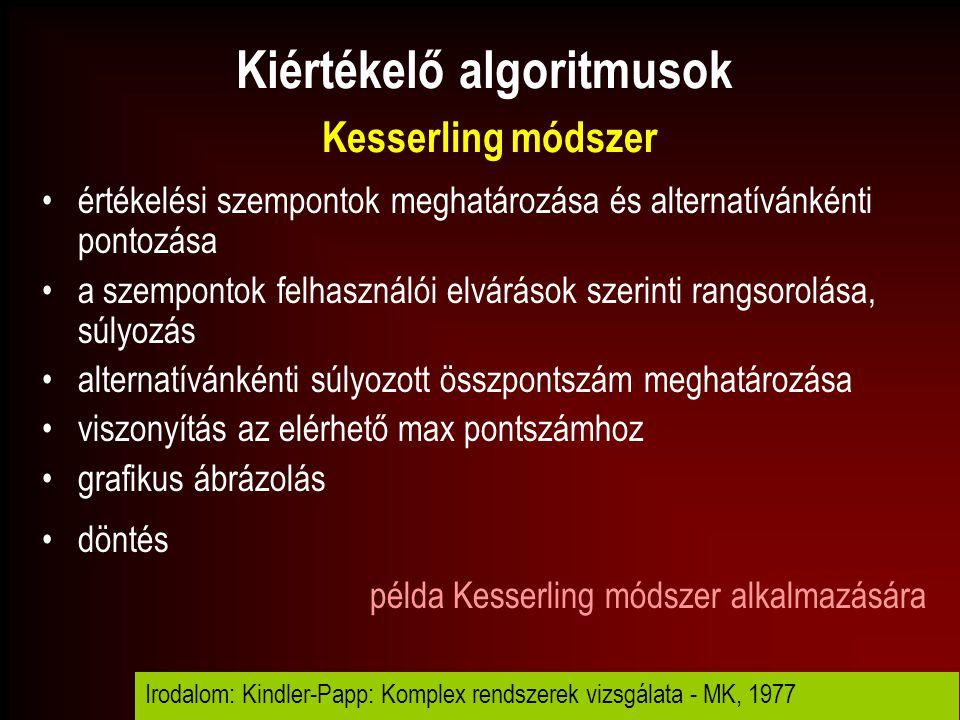 Kiértékelő algoritmusok Kesserling módszer
