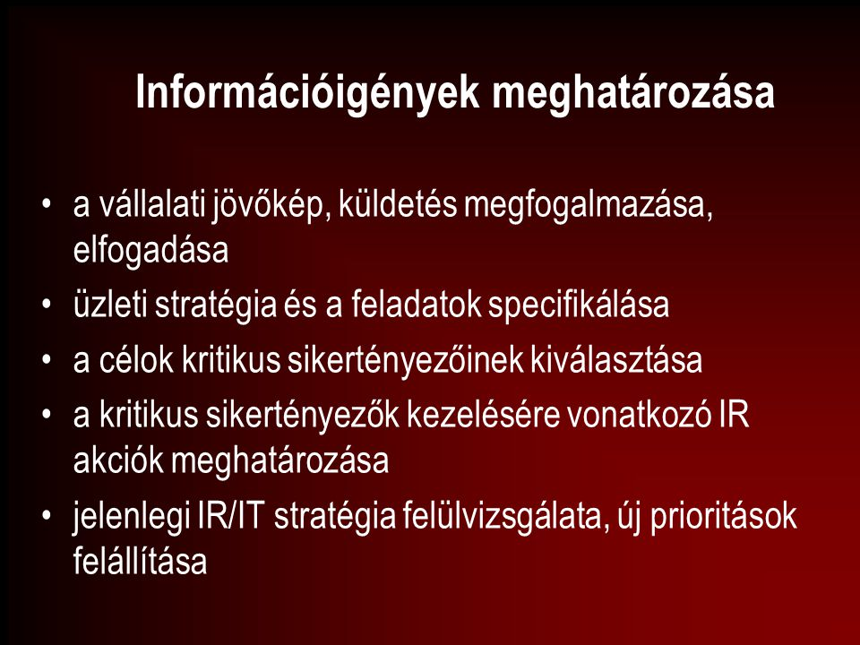 Információigények meghatározása
