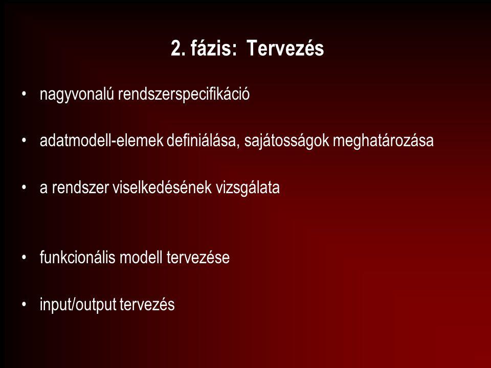 2. fázis: Tervezés nagyvonalú rendszerspecifikáció