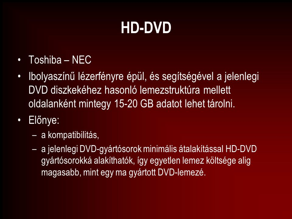 HD-DVD Toshiba – NEC.