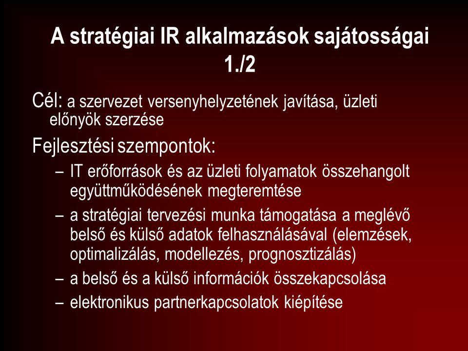 A stratégiai IR alkalmazások sajátosságai 1./2