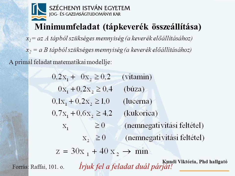 Minimumfeladat (tápkeverék összeállítása)