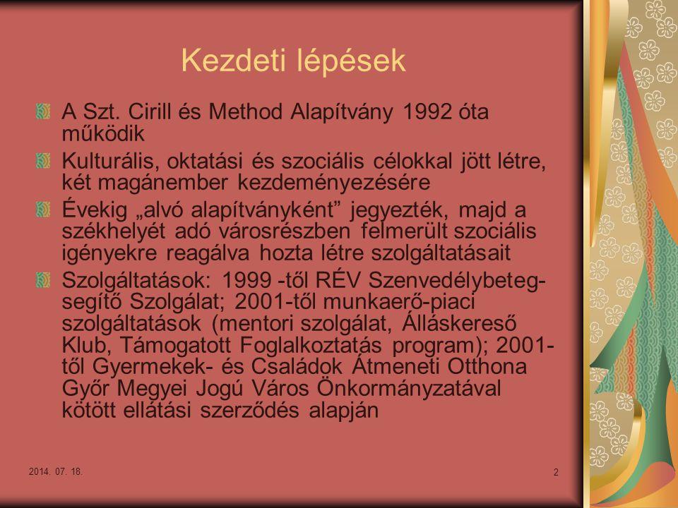 Kezdeti lépések A Szt. Cirill és Method Alapítvány 1992 óta működik