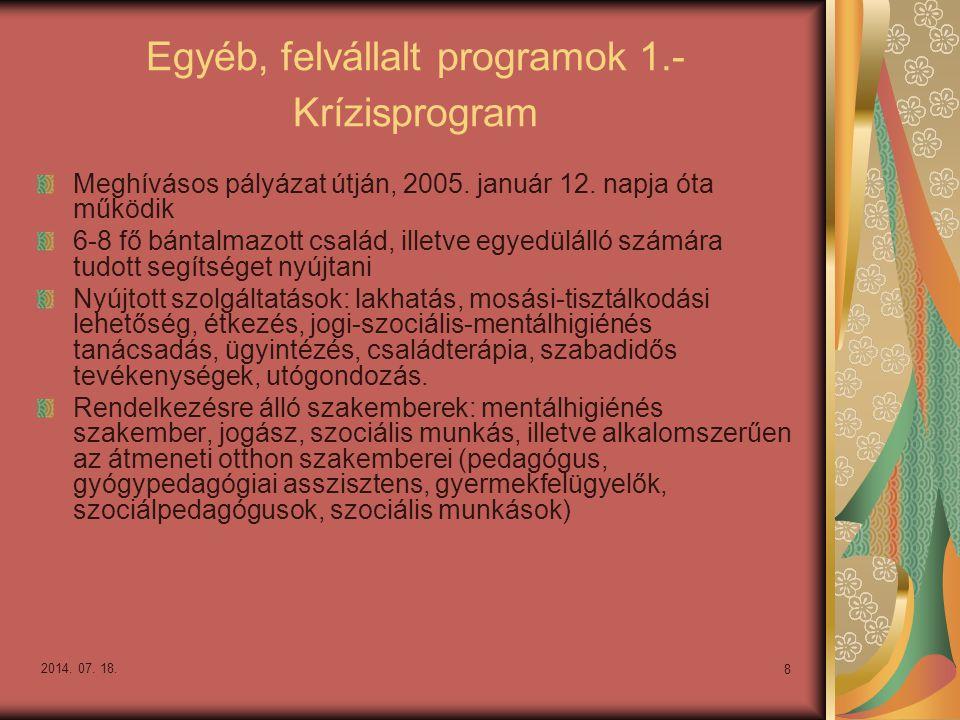 Egyéb, felvállalt programok 1.- Krízisprogram