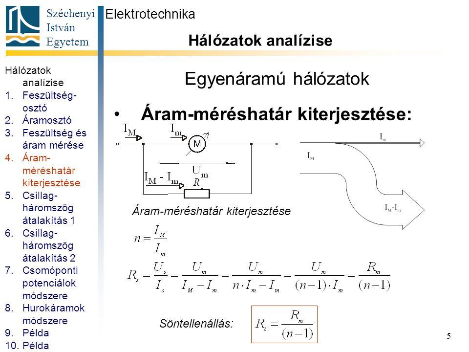 Áram-méréshatár kiterjesztése: