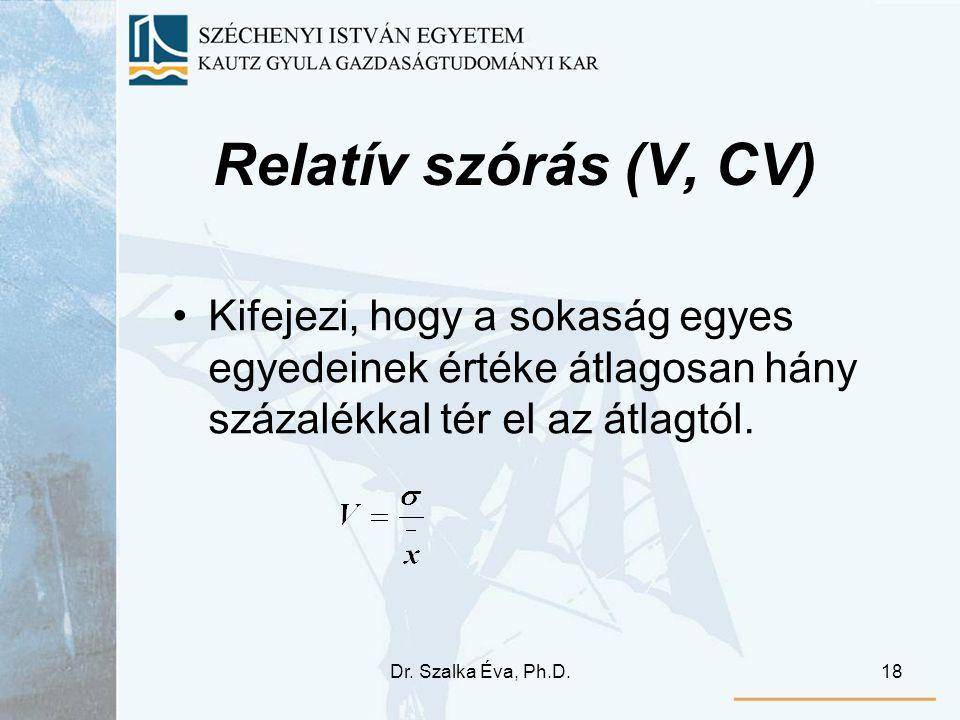 Relatív szórás (V, CV) Kifejezi, hogy a sokaság egyes egyedeinek értéke átlagosan hány százalékkal tér el az átlagtól.