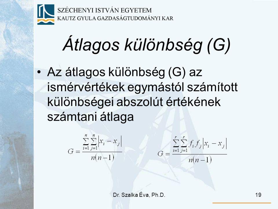 Átlagos különbség (G) Az átlagos különbség (G) az ismérvértékek egymástól számított különbségei abszolút értékének számtani átlaga.