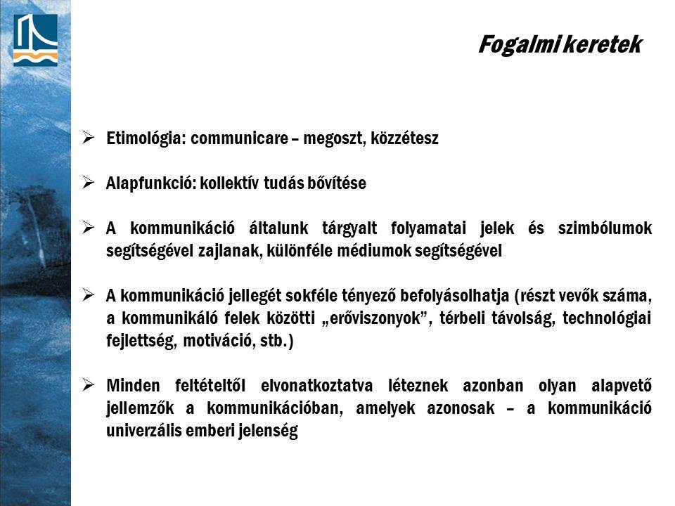Fogalmi keretek Etimológia: communicare – megoszt, közzétesz