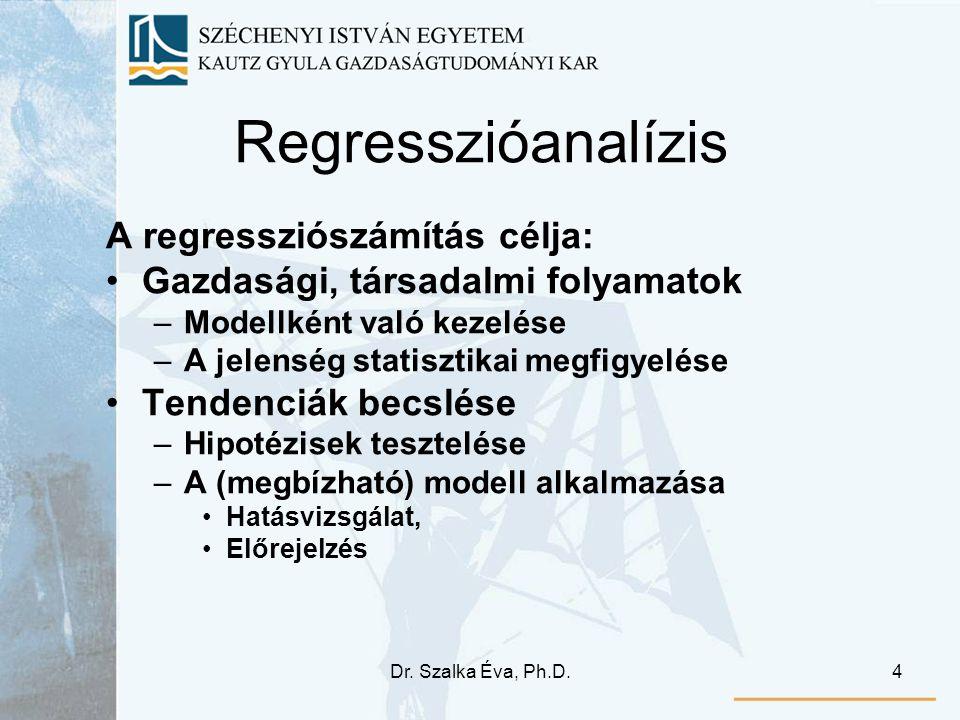Regresszióanalízis A regressziószámítás célja: