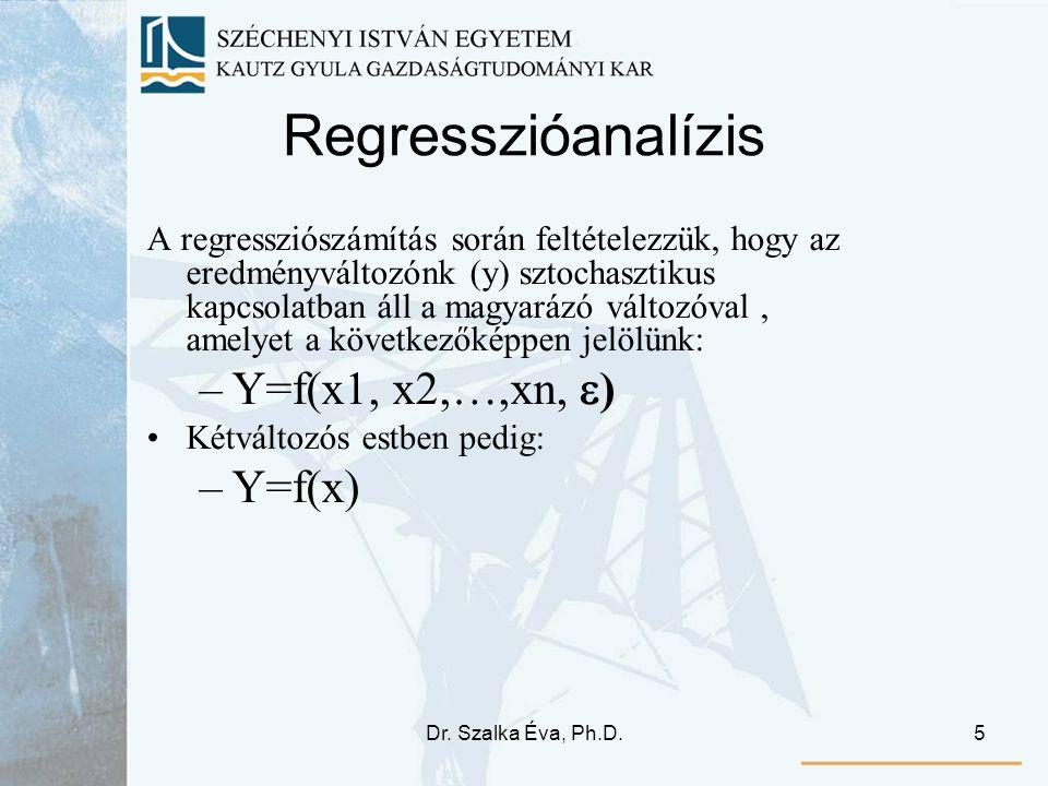 Regresszióanalízis Y=f(x1, x2,…,xn, ) Y=f(x)