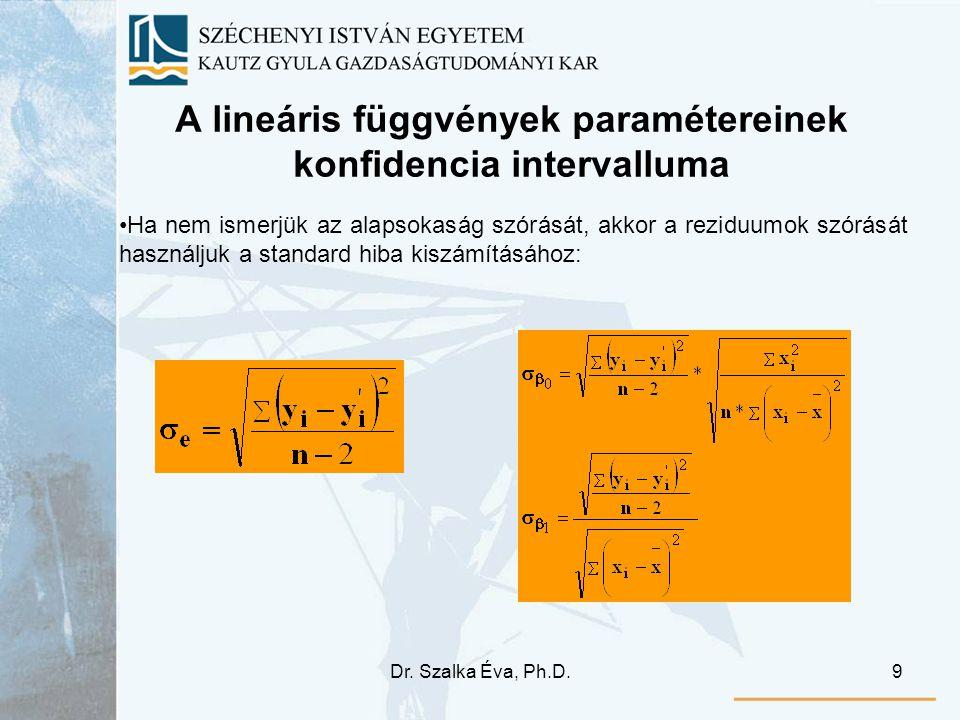 A lineáris függvények paramétereinek konfidencia intervalluma