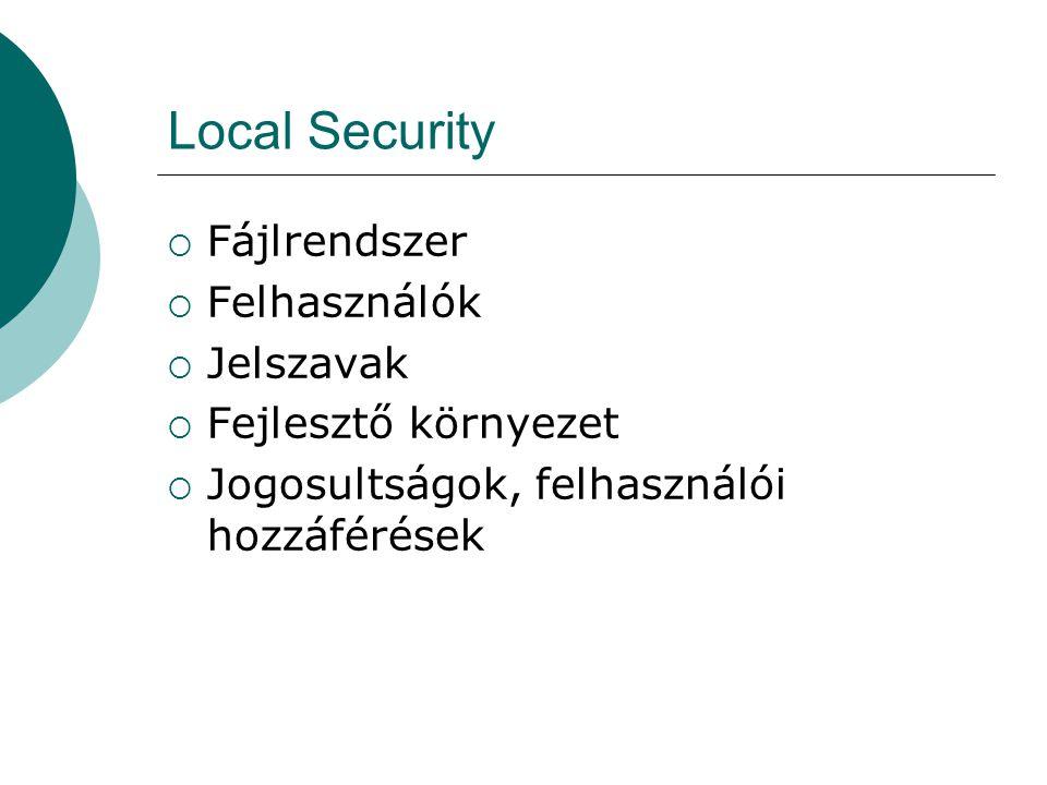 Local Security Fájlrendszer Felhasználók Jelszavak Fejlesztő környezet