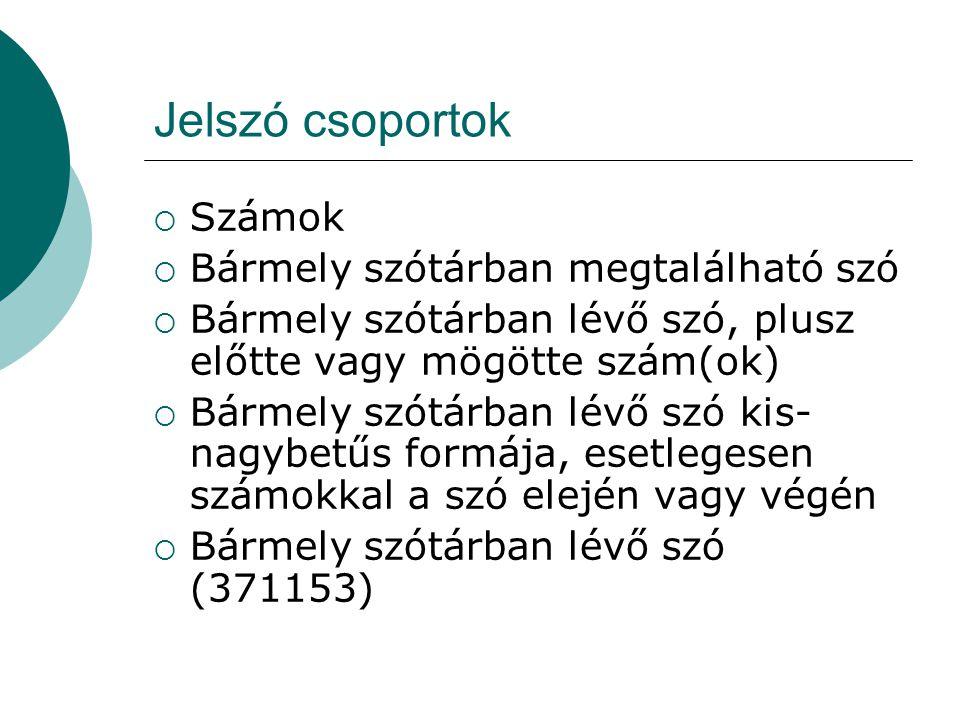 Jelszó csoportok Számok Bármely szótárban megtalálható szó