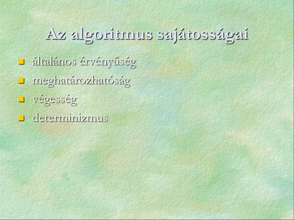 Az algoritmus sajátosságai