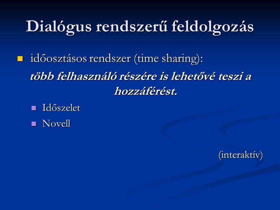Dialógus rendszerű feldolgozás