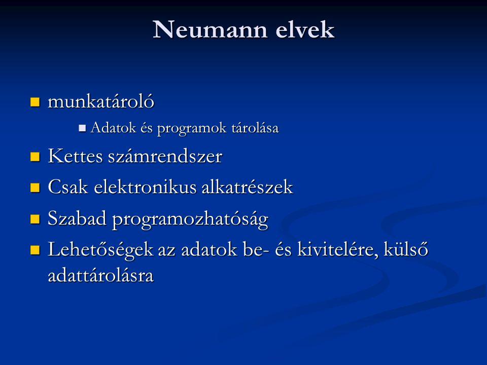 Neumann elvek munkatároló Kettes számrendszer