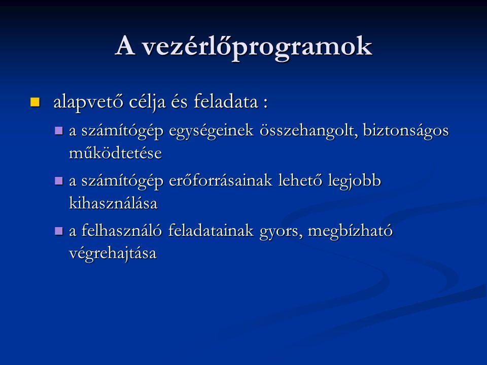 A vezérlőprogramok alapvető célja és feladata :