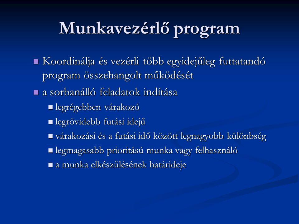Munkavezérlő program Koordinálja és vezérli több egyidejűleg futtatandó program összehangolt működését.