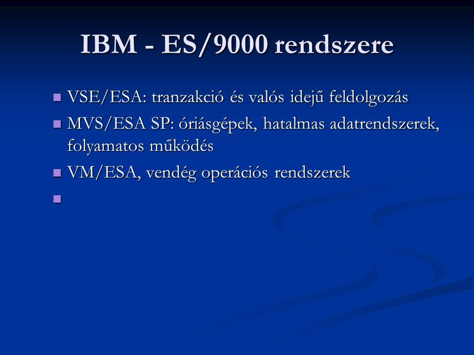 IBM - ES/9000 rendszere VSE/ESA: tranzakció és valós idejű feldolgozás