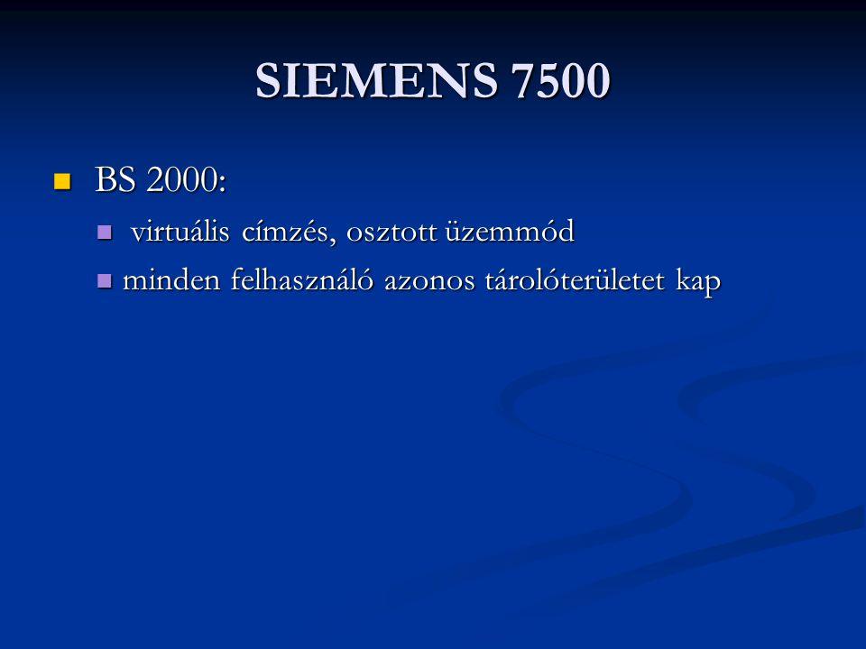 SIEMENS 7500 BS 2000: virtuális címzés, osztott üzemmód