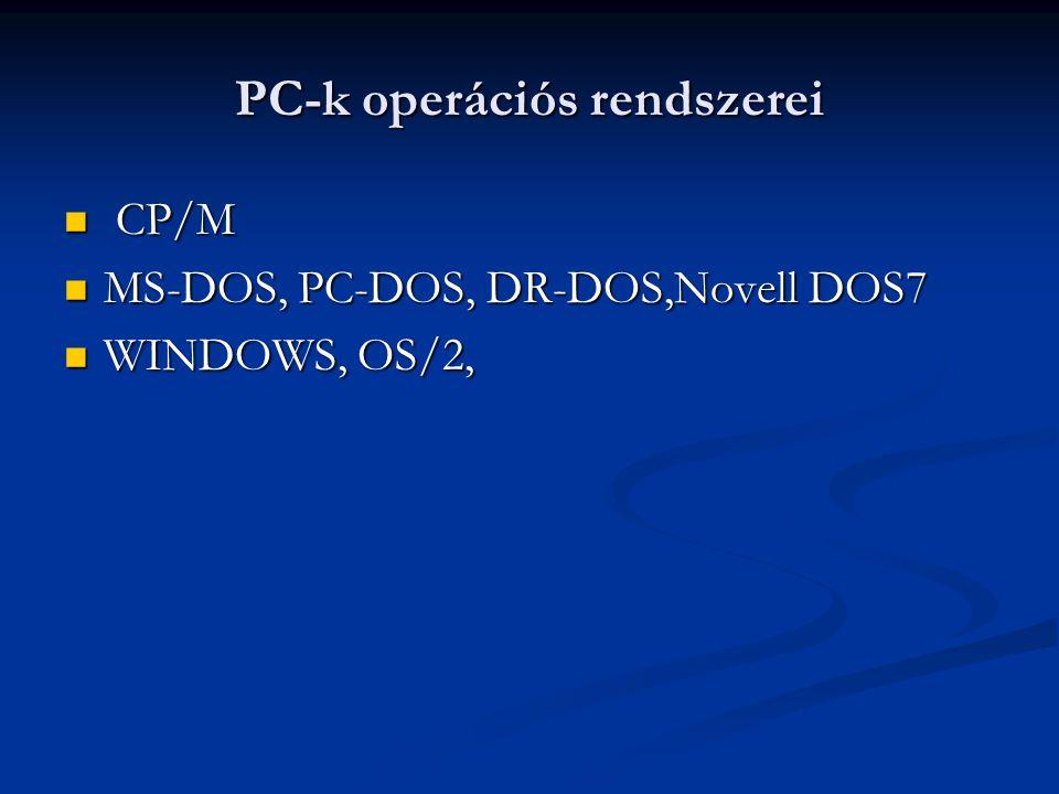 PC-k operációs rendszerei