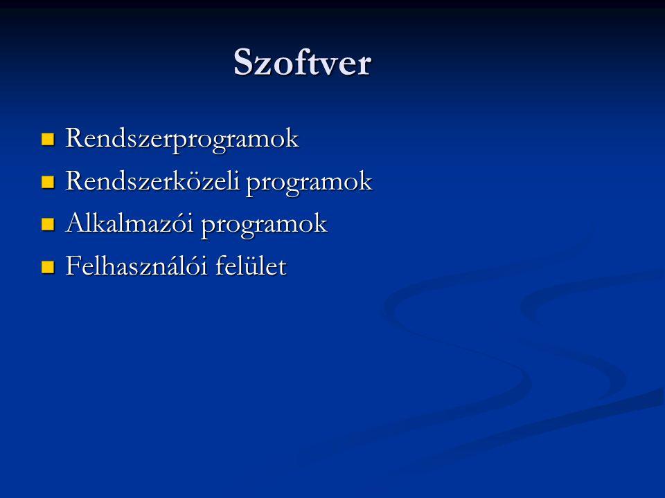 Szoftver Rendszerprogramok Rendszerközeli programok