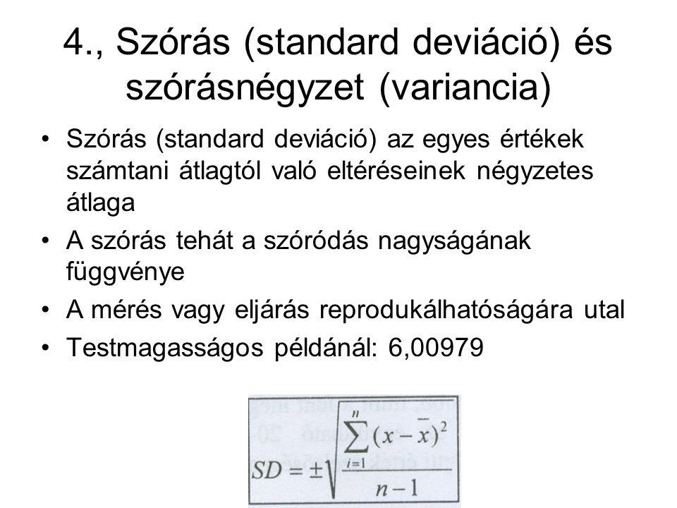 4., Szórás (standard deviáció) és szórásnégyzet (variancia)