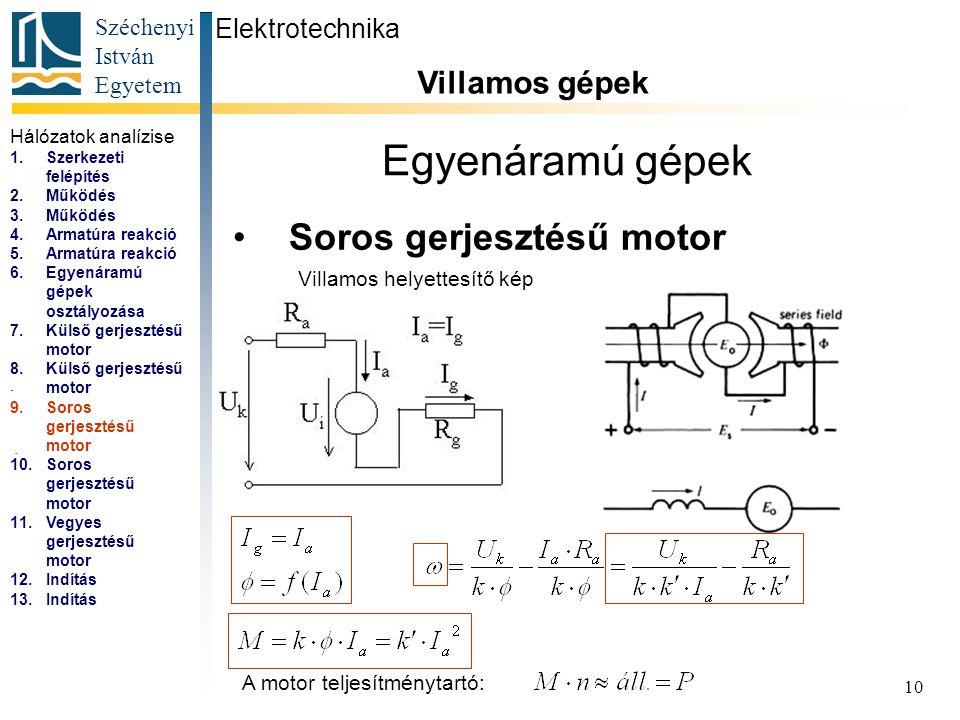 Egyenáramú gépek Soros gerjesztésű motor Villamos gépek