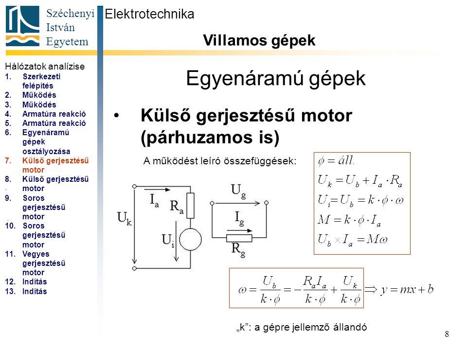 Egyenáramú gépek Külső gerjesztésű motor (párhuzamos is)