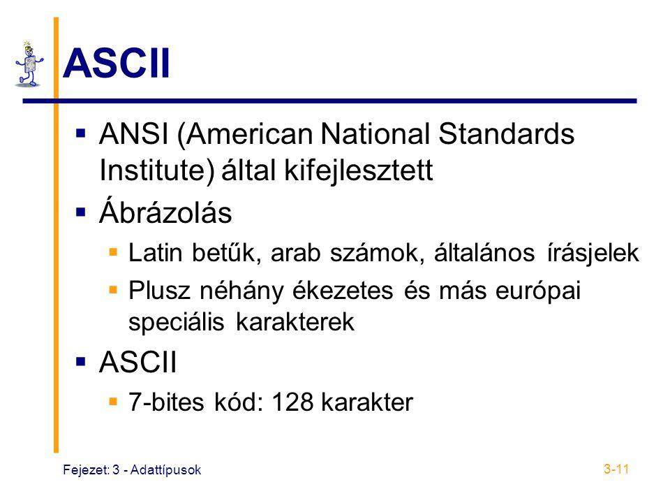 ASCII ANSI (American National Standards Institute) által kifejlesztett