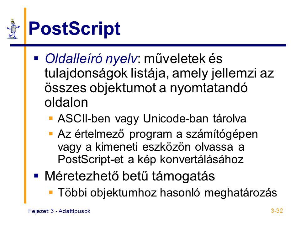 PostScript Oldalleíró nyelv: műveletek és tulajdonságok listája, amely jellemzi az összes objektumot a nyomtatandó oldalon.