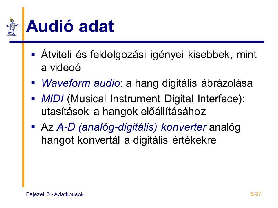 Audió adat Átviteli és feldolgozási igényei kisebbek, mint a videoé