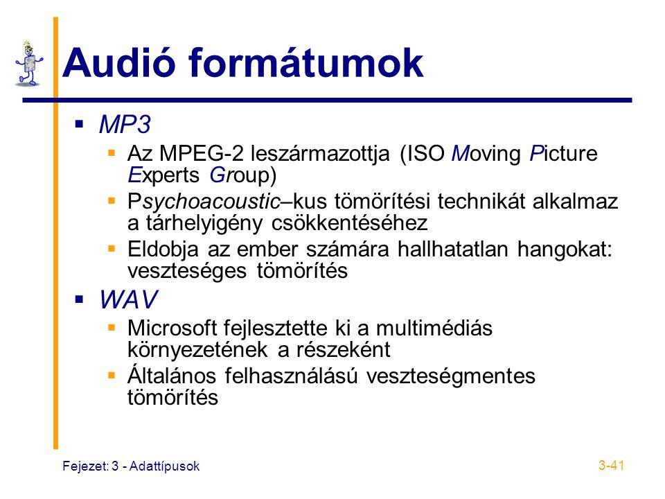 Audió formátumok MP3 WAV
