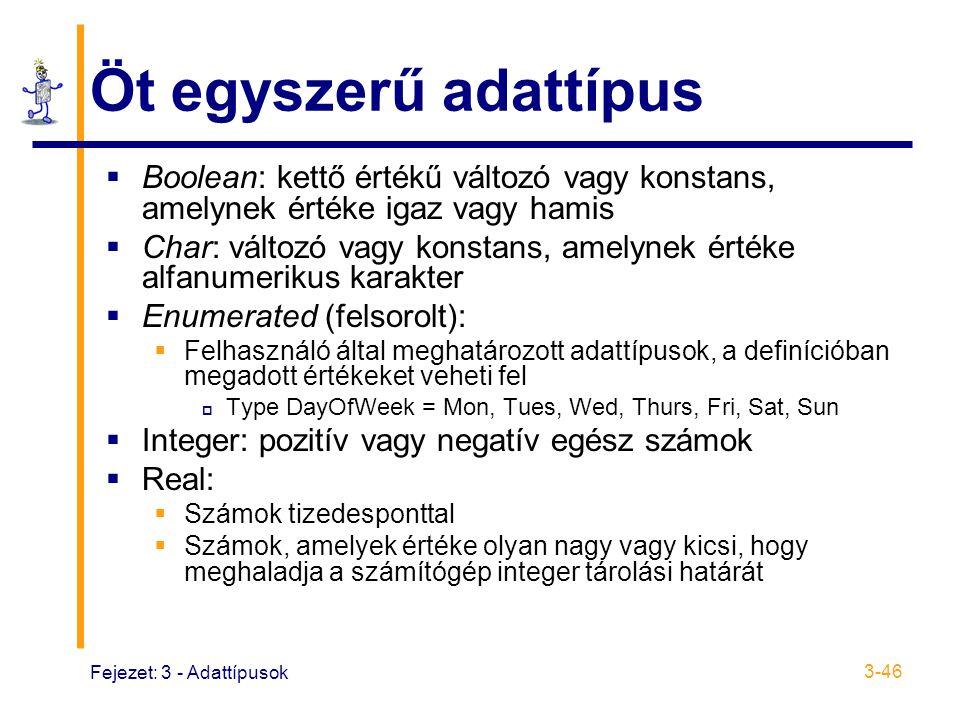 Öt egyszerű adattípus Boolean: kettő értékű változó vagy konstans, amelynek értéke igaz vagy hamis.