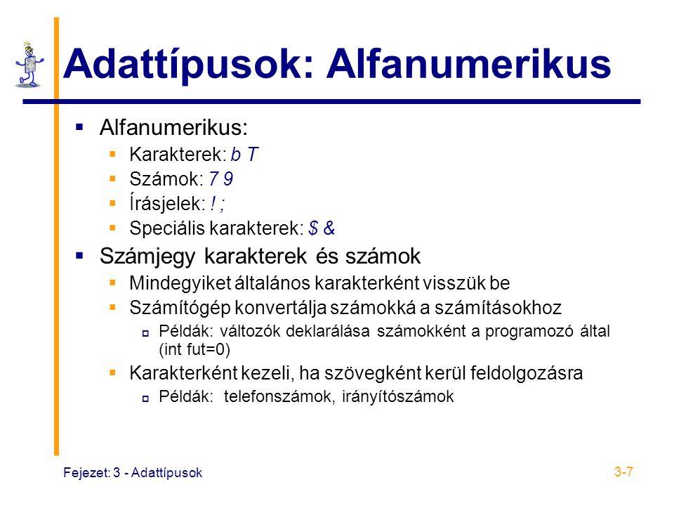 Adattípusok: Alfanumerikus