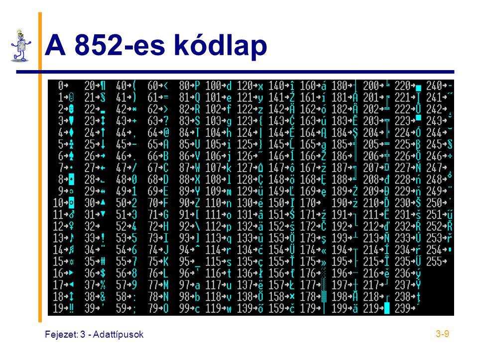 A 852-es kódlap Fejezet: 3 - Adattípusok